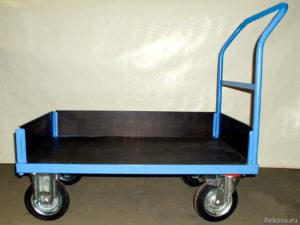 Manipulační vozík s čelem a madlem, nízké bočnice 1000 × 700 mm na 350 kg V 510.