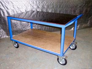 Montážní, servisní vozík dvoupodlažní s madlem 1200 × 700 mm na 350 kg V 509.